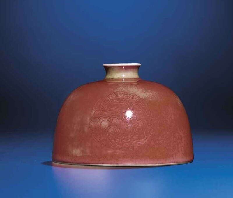 A peachbloom-glazed beehive waterpot, Kangxi six-character mark and of the period (1672-1722)