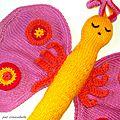 Un nouveau modèle! doudou papillon en laine, doulainou lisbeth