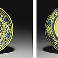 A rare ming-style blue and white yellow-ground dish,yongzheng six-character mark within a double circle and of the period (1723-