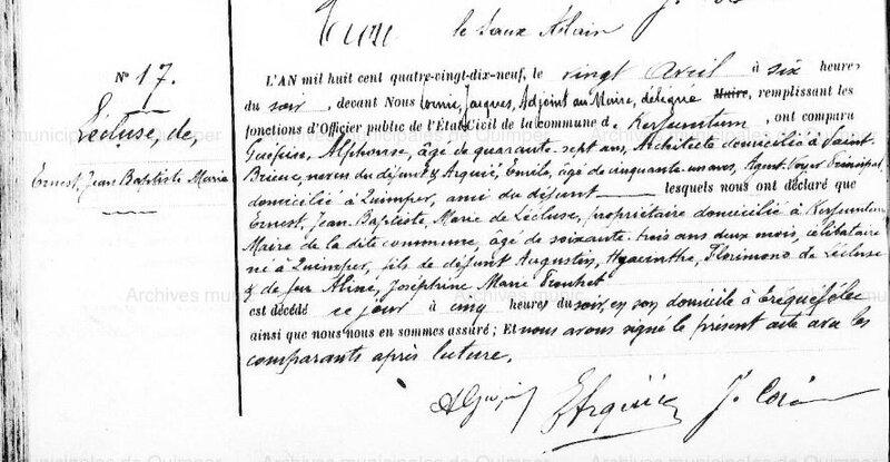1899 décès de Ernest de l'Ecluse à Kerfeunteun