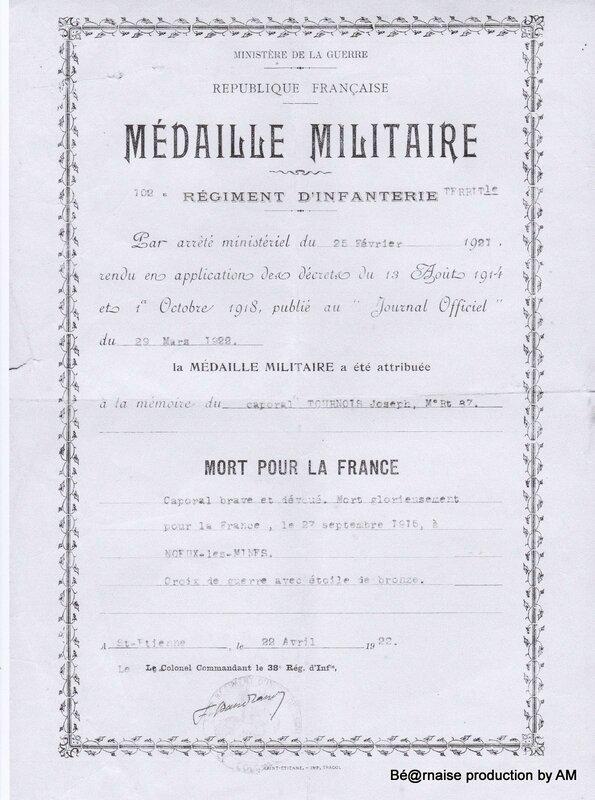 MédailleMilitaireJosephCharton1915NetB