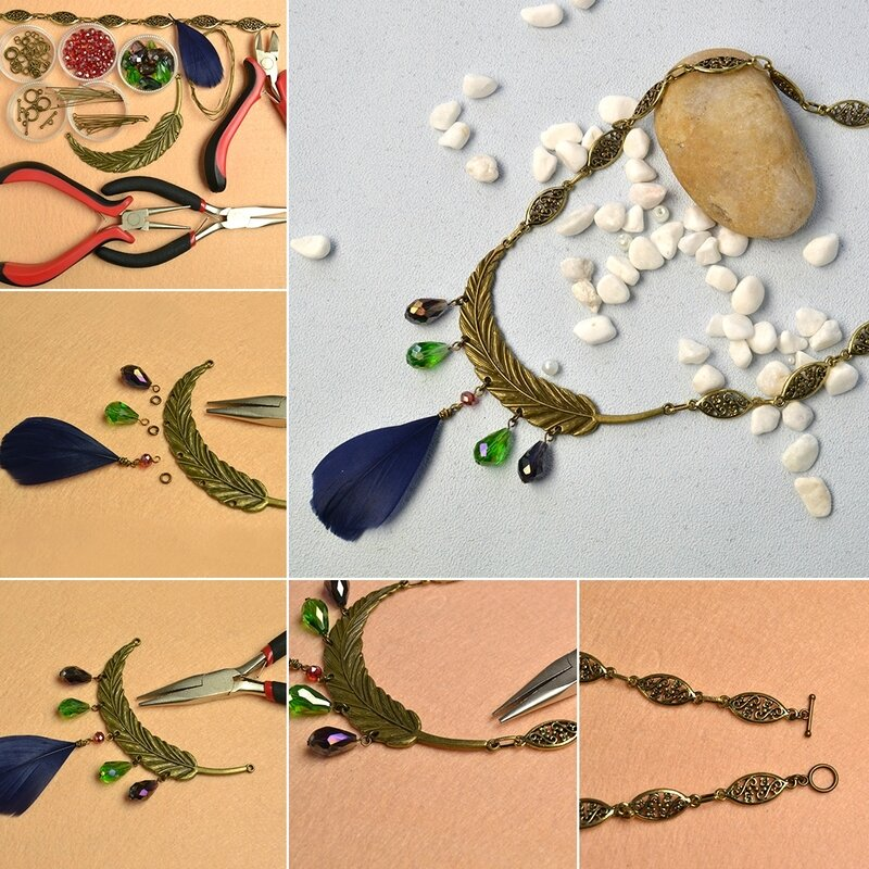 1080-Pandahall-Original-Project--How-to-Make-Tibetan-Style-Feather-Pendant-Necklace-with-Drop-Glass-Beads