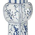A very rare relief-moulded blue and white porcelain vase, 'fang gu', china, wanli six-character mark and of the period