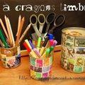Pots à crayons timbrés Au pays des Cactus