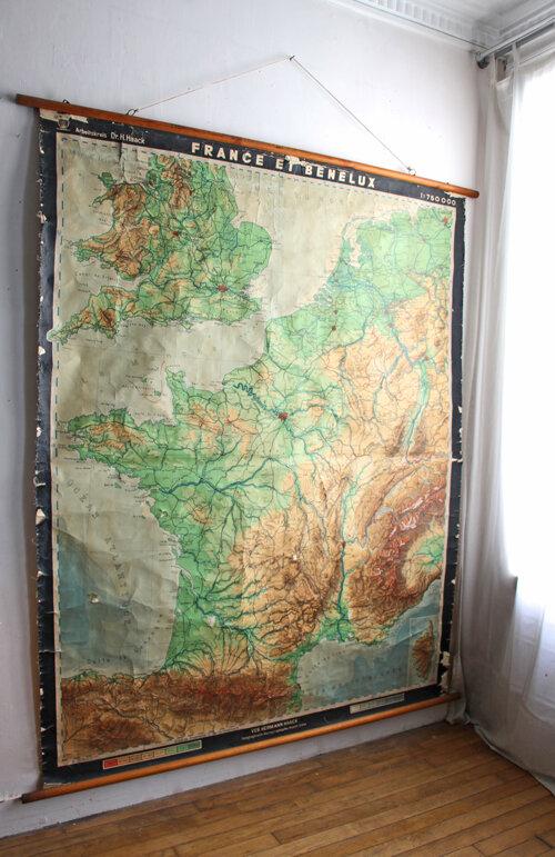 ancienne-carte-de-geographie-entoilee-france-et-benelux