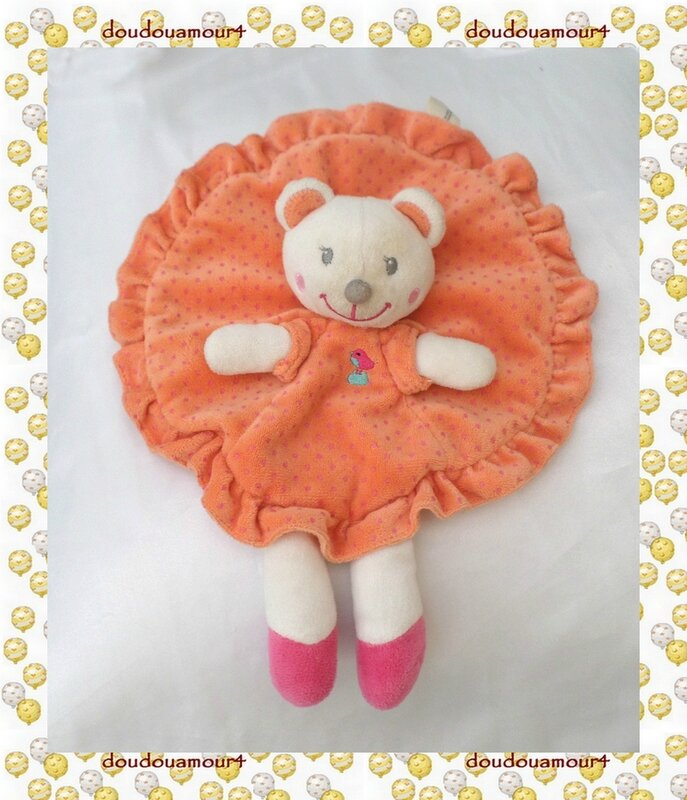 Doudou Ours Blanc Plat Rond Orange Pois Rose Broderie Oiseau Nicotoy