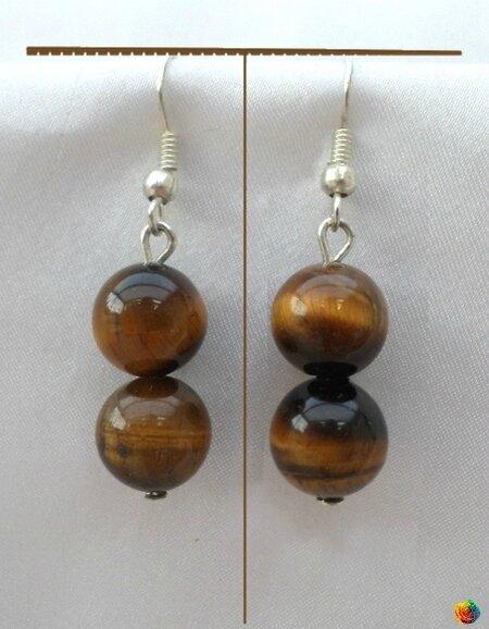 Boucles d'Oreilles Nafy Perles Oeil de Tigre 10 mm Argent du Tibet