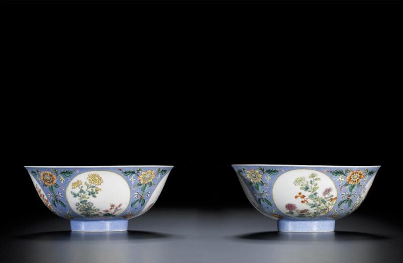 A pair of superb 'famille-rose' blue sgraffiato-ground medallion bowls, seal marks and period of Qianlong (1736-1795)