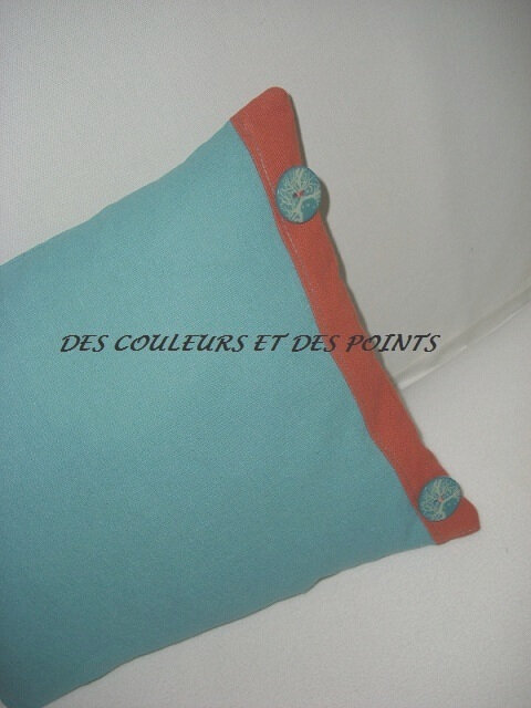 COUSSIN FLEUR BRODEE DETAIL BOUTONS TURQUOISE