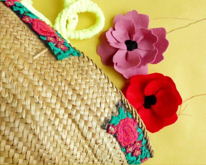 ruban-brodé-mexique-customisation-panier-osier-fleurs