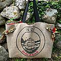 Sac cabas réalisé avec un sac de café en toile de jute // sac de plage // beach bag