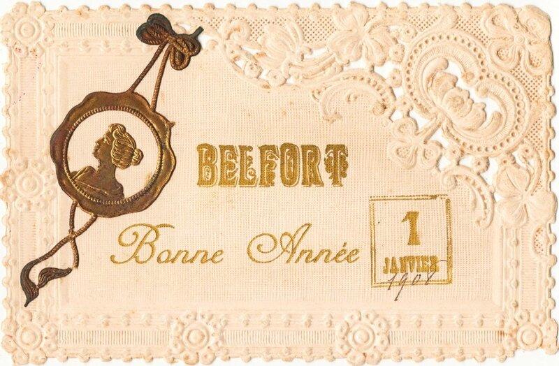 CPA Belfort Bonne Année brodée img209cR