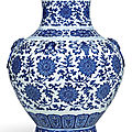 A fine large blue and white ming-style vase, hu, seal mark and period of qianlong (1736-1795)