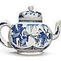 A large blue and white 'figural' teapot and and cover, qing dynasty, kangxi period (1662-1722)