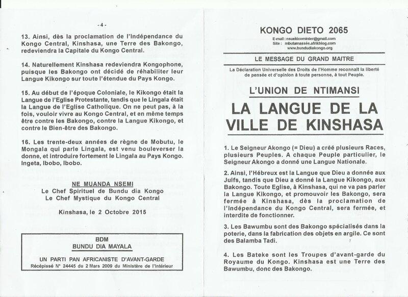 LA LANGUE DE LA VILLE DE KINSHASA a