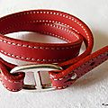Bracelet double tour cuir Grain de Café (rouge)