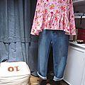 Blouse CERISE en coton rose imprimé fleurs et oiseaux rose-vert-jaune (4)