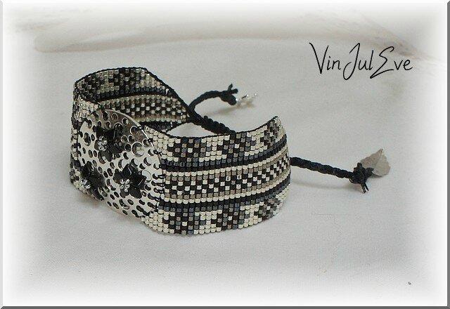 bracelet Loom cratère noir argent 4