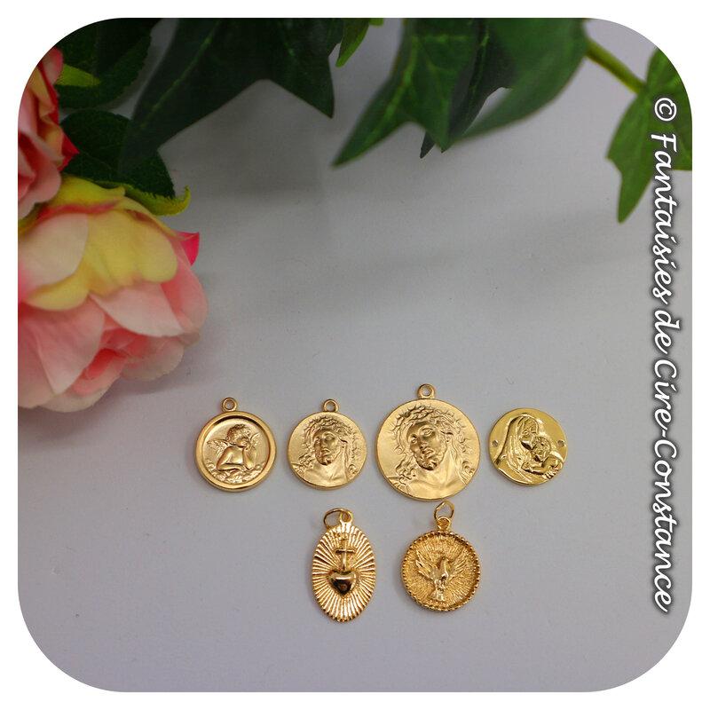 Médailles Jésus ange plaqués or