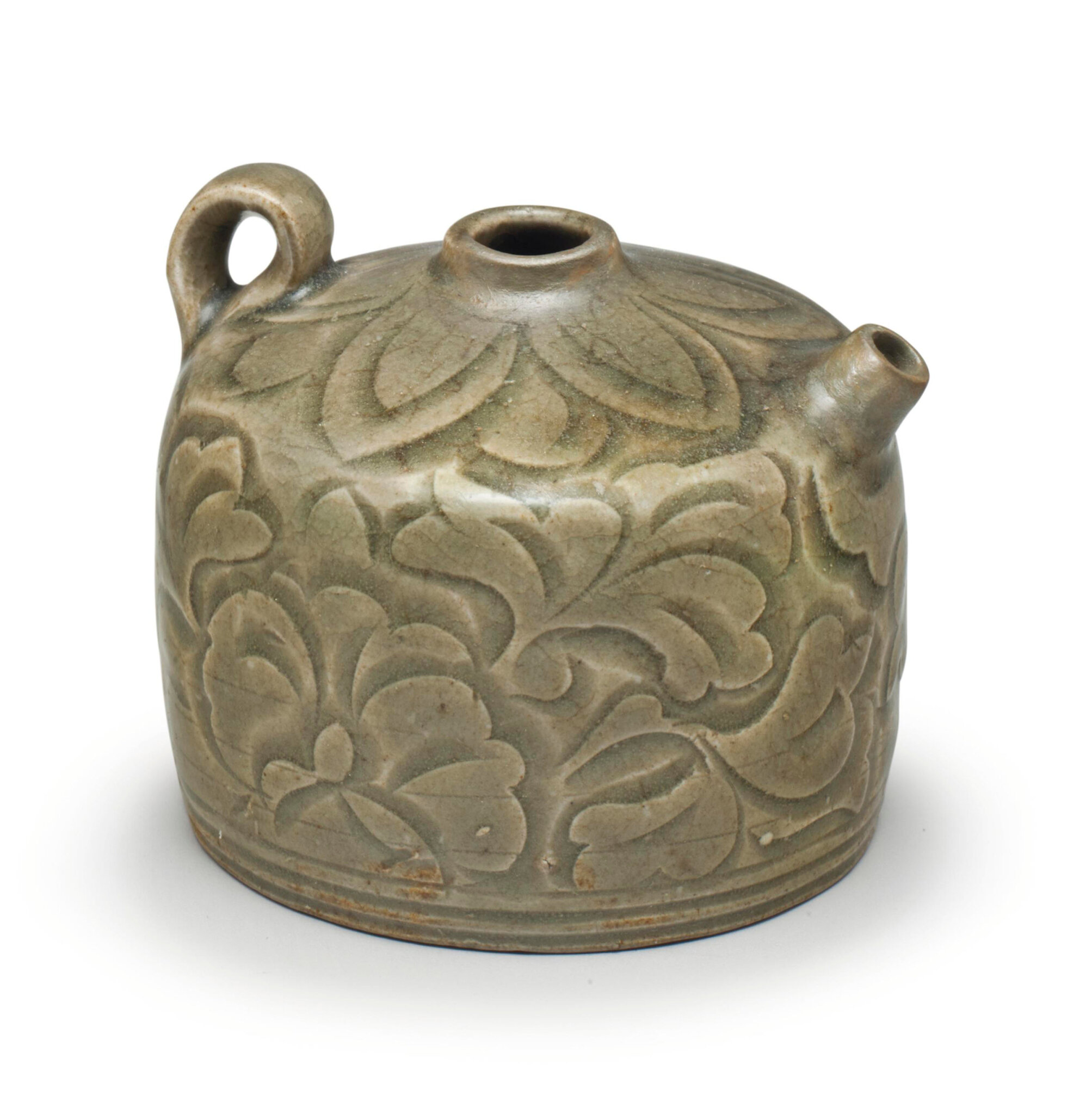 A rare small Yaozhou celadon carved ewer, Northern Song-Jin dynasty (960-1234)