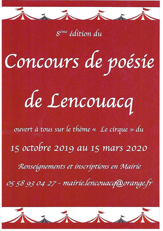 Affiche du concours de poésie 2020