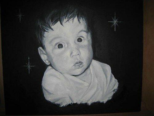 portrait de ma 2eme enfant, il y a 7ans et j'ai terminé il y a 15 jours(qq retrouches), il me reste à faire 2 portrait de mes 2 derniers enfants, eh oui j'ai du retard!