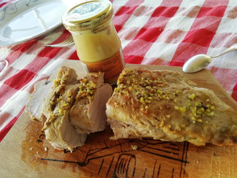 filet de porc froid moutarde pistaches