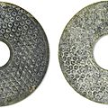 Two jade bi discs, warring states period (475-221 bc)