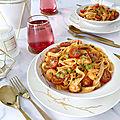 ➿🍤 tagliatelles aux crevettes, petits pois et sauce piquante 🍤➿