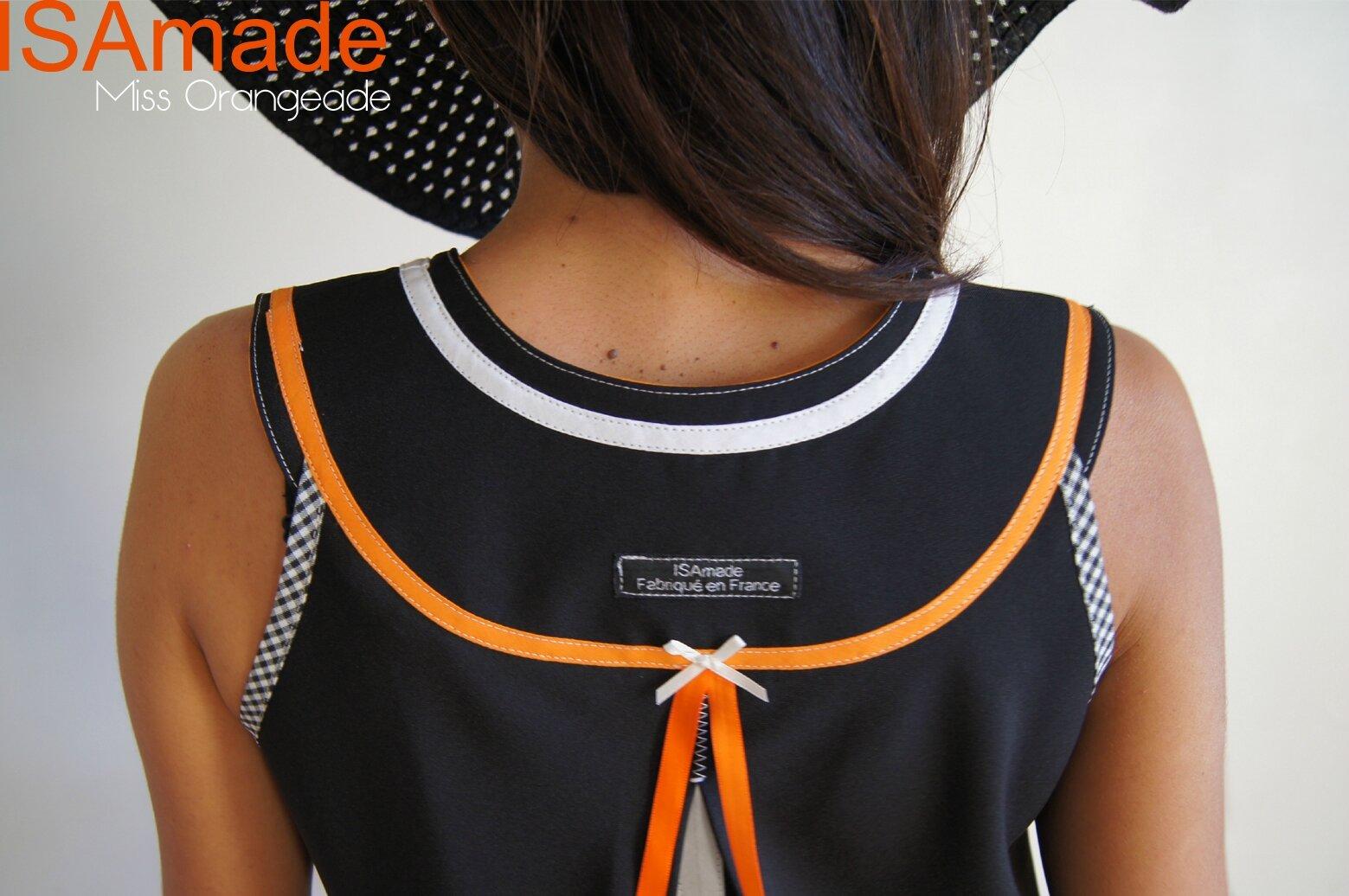 Robe trapèze année 60 vintage noire/ Orange/ blanc et pied de poule