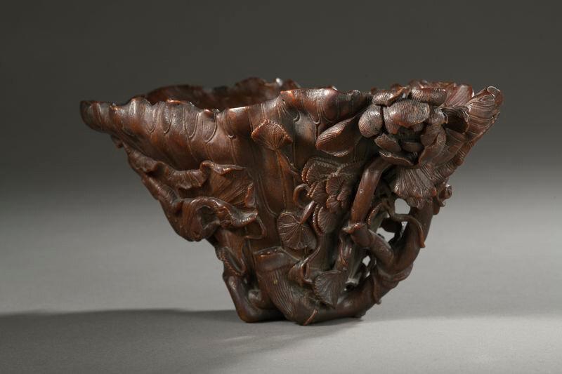 Coupe libatoire en corne de rhinocéros, Chine, dynastie Qing, XVIIIe siècle