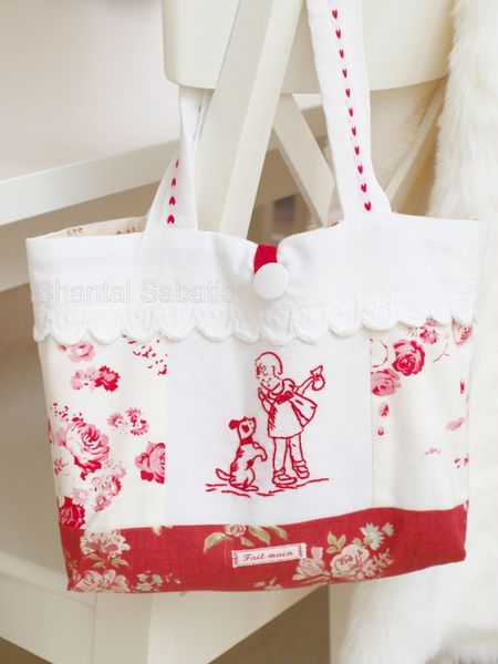 sac broderie rouge chantal sabatier