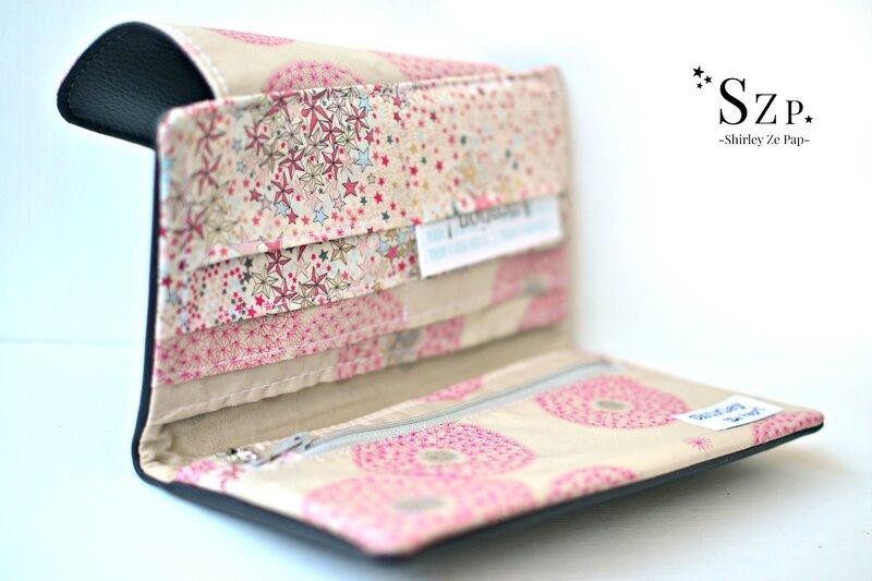 portefeuille personnalisé Liberty adelajda rose japonais, fairy clock rose or, simili cuir gris, shirley ze pap, szp
