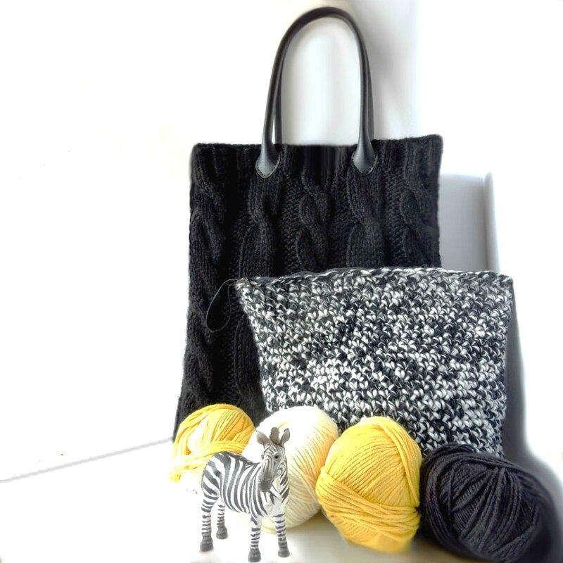 torsades tricotées, N&B crochetés - Anisbee