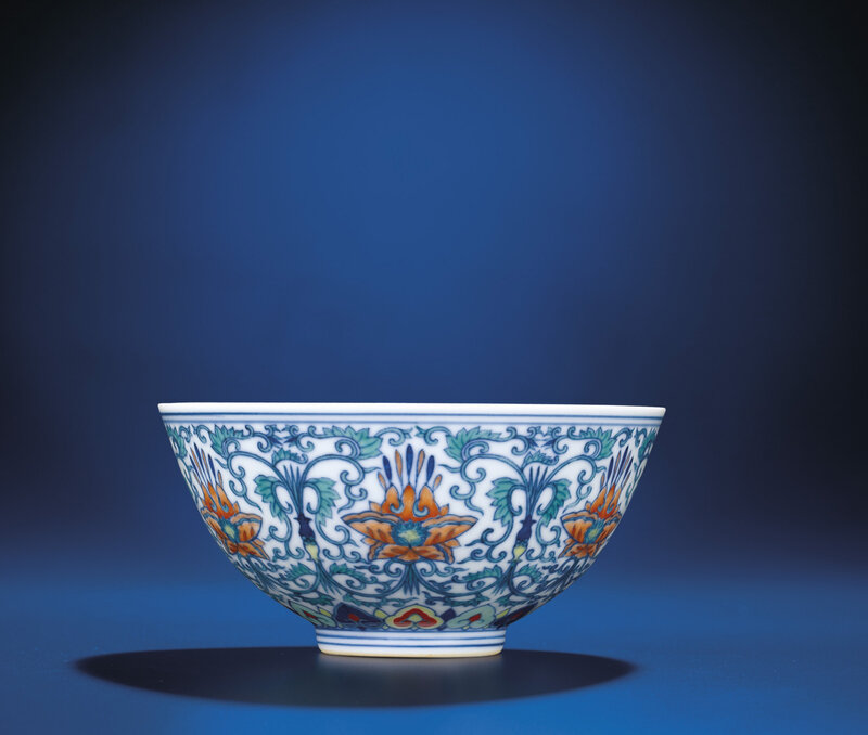 A doucai 'Floral' bowl, Jiaqing six-character seal mark and of the period (1796-1820)