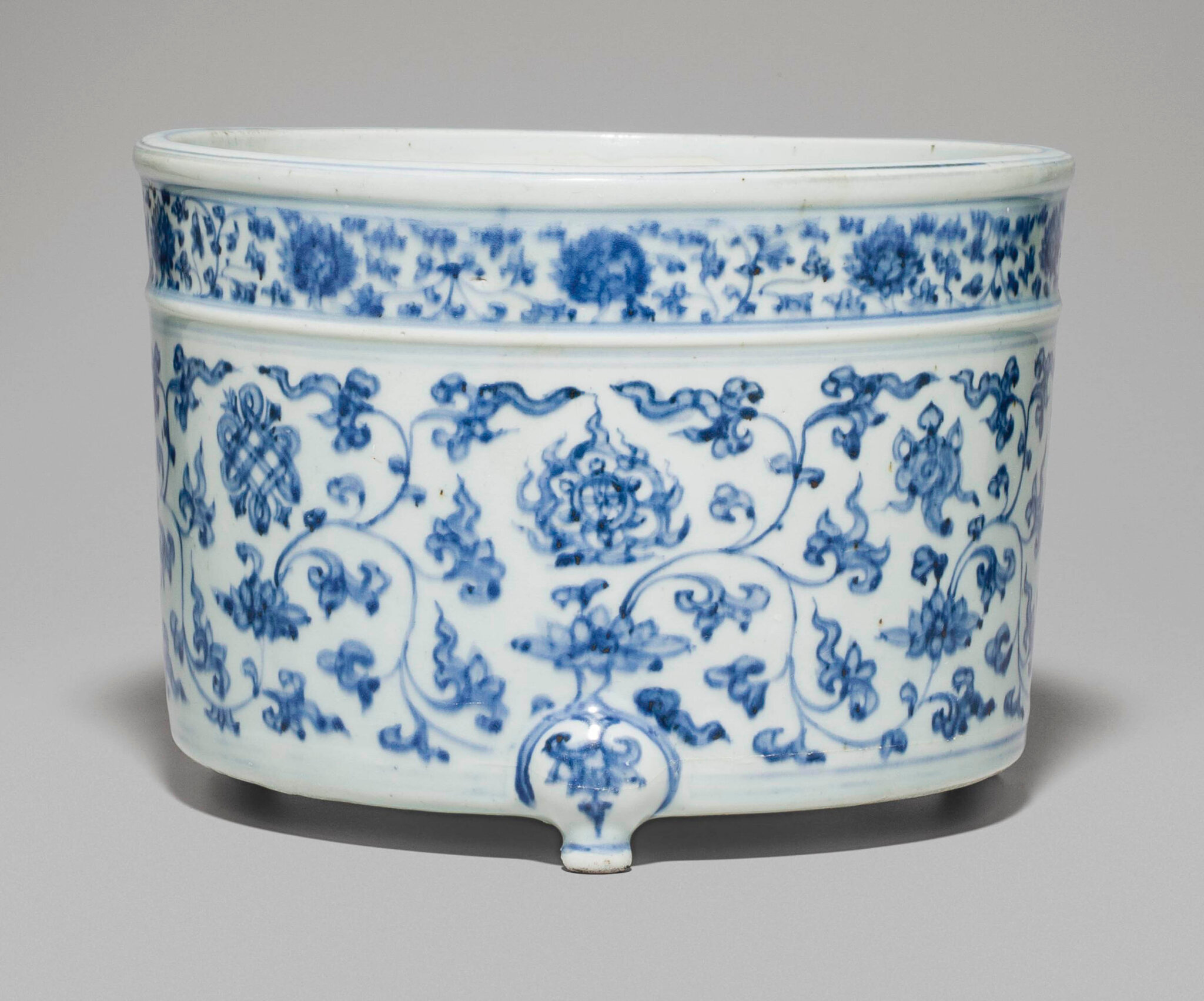 rare large blue and white censer