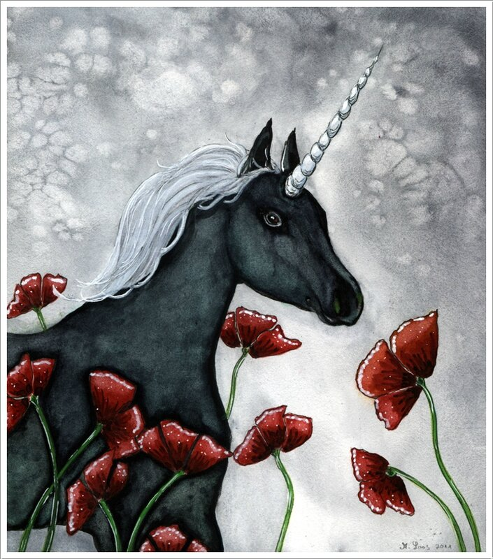 black_unicorn_by_dragonflywatercolors-d3804b2