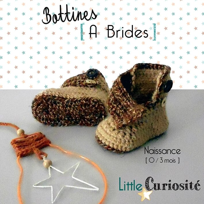 Chaussons bébé Naissance - Bottines à Brides beige chiné, au crochet - Handmade in France - ©Little Curiosité (2)
