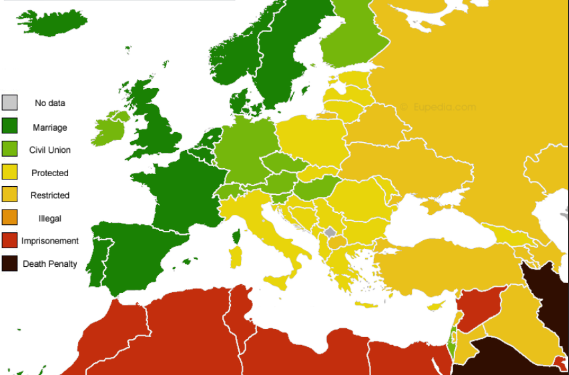 LGBT laws across Europe and parts of Asia, Africa, and the Middle East