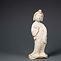 a fine and rare white marble figure of a court lady, late tang dynasty-five dynasties