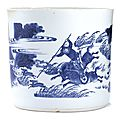 A blue and white 'hunting' brushpot, Transitional period
