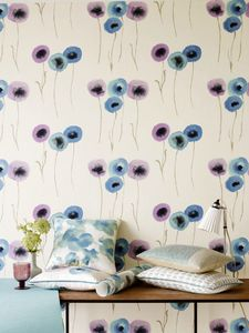 Poppies mauve ultramarine wallpaper_lr