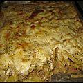 Gratin de macaroni au thon, courgette et au curry