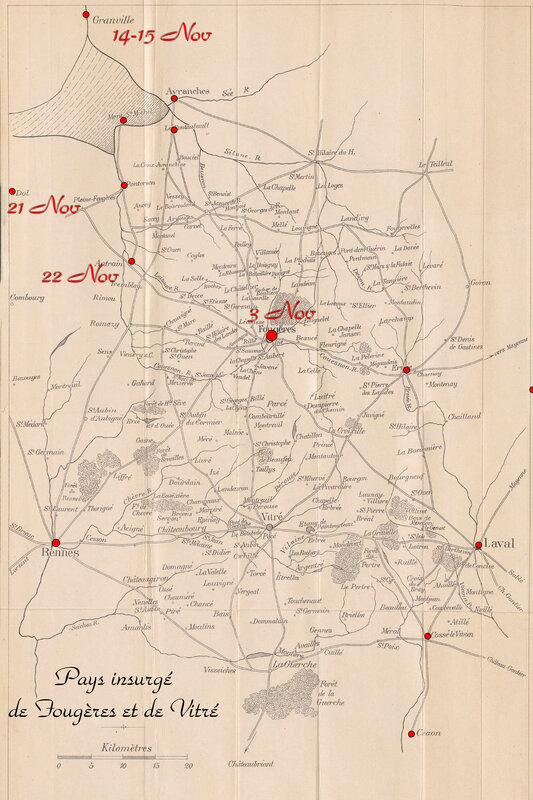 carte La virée de Galerne le 3 Novembre 1793 – La Bataille de Fougères