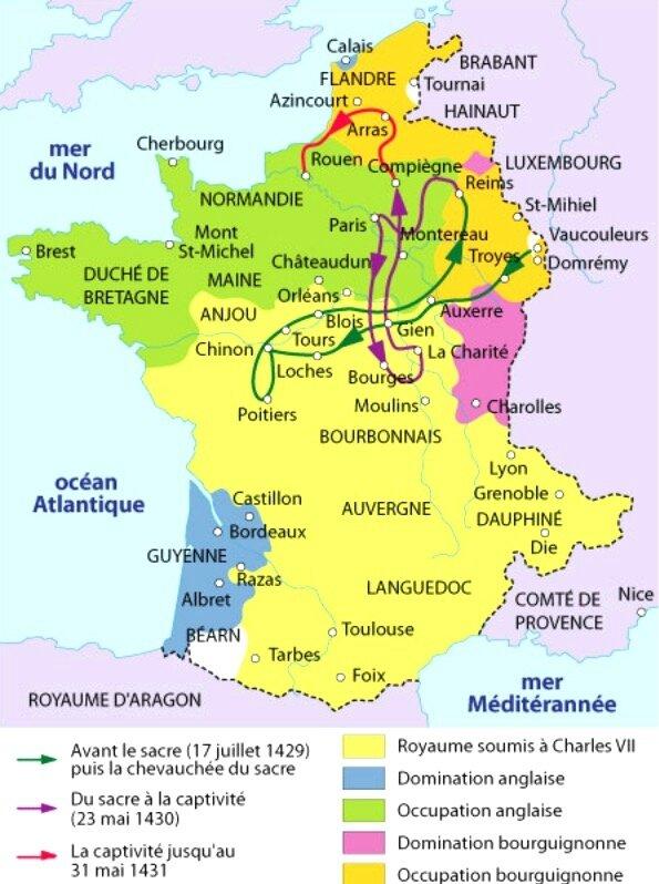 France carte Jeanne d'Arc