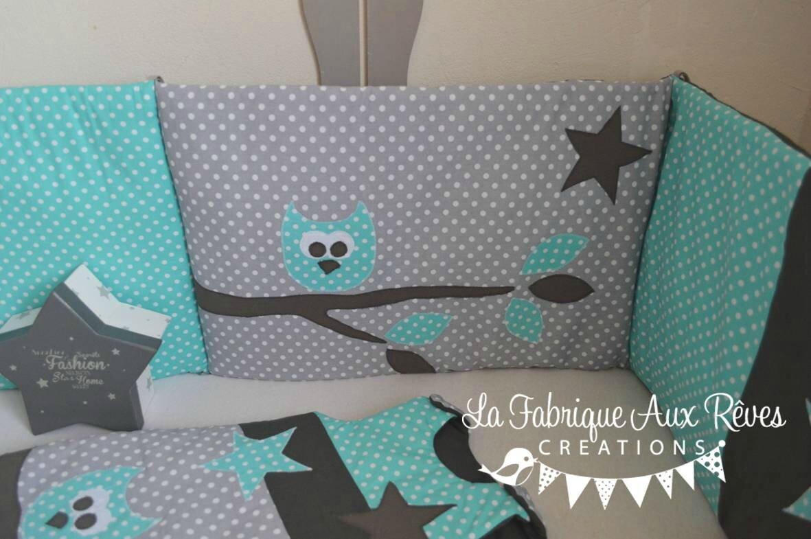 tour lit et gigoteuse hibou toiles turquoise cara be et. Black Bedroom Furniture Sets. Home Design Ideas