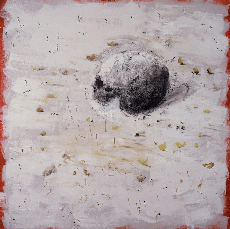 Miquel Barceló, Crâne aux allumettes, 2006 Technique mixte sur toile 200 x 200 cm Collection de l'artiste © André Morin, 2018 / ADAGP 2018
