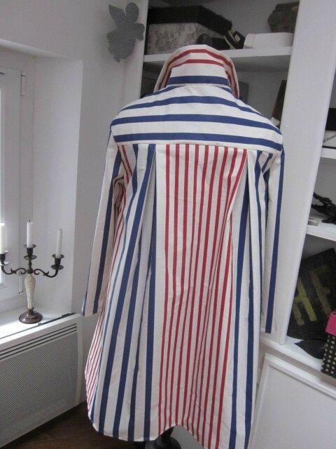 Ciré AGLAE en coton enduit écru rayé rouge et indigo fermé par un noeud dasn le même tissu (8)