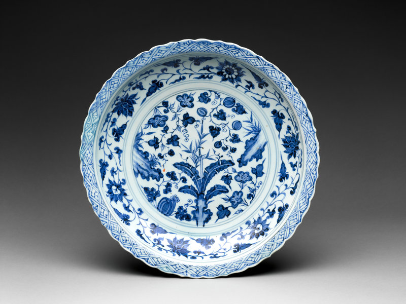 Foliated plate with rocks, plants, and melons, Yuan dynasty (1271–1368), 14th century
