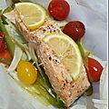 Papillote légère de saumon, fenouil et poivron